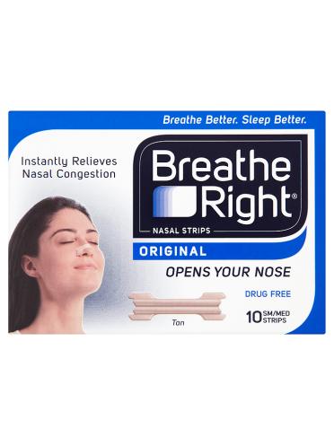 Breathe Right Nasal Strips Original Tan 10 Sm/Med Strips