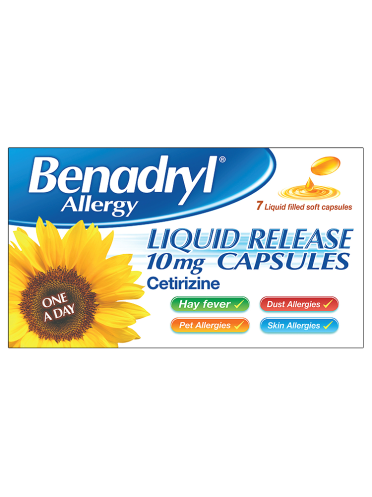 Benadryl Allergy Liquid Release One A Day 10mg Capsules 7 Liquid Filled Soft Capsules