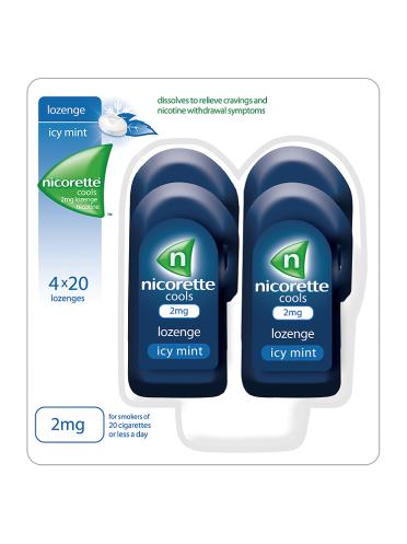 Nicorette Cools Icy Mint 2mg Lozenge Nicotine 4 x 20 Lozenges