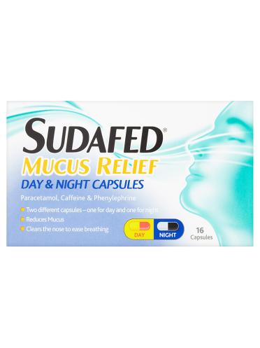 Sudafed Mucus Relief Day & Night Capsules 16 Capsules