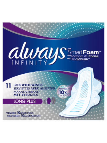 Always Infinity Long Plus Sanitary Towels with Wings 11 count