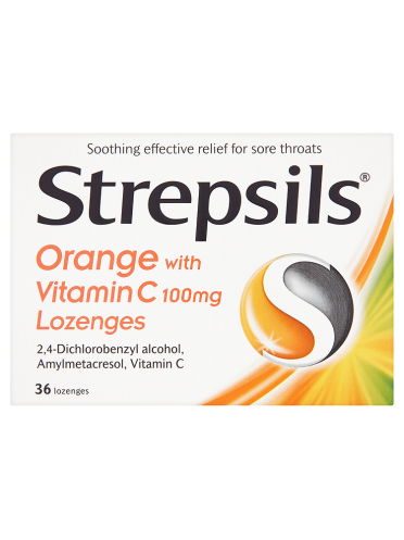 Strepsils Orange with Vitamin C 100mg Lozenges 36 Lozenges