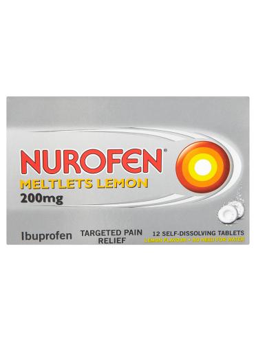 Nurofen Meltlets Lemon 200mg 12 Self-Dissolving Tablets