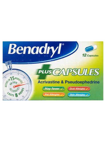 Benadryl Plus Capsules 12 Capsules