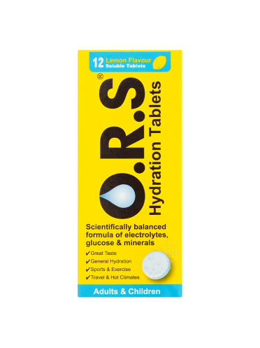 O.R.S Hydration Tablets Adults & Children 12 Lemon Flavour Soluble Tablets
