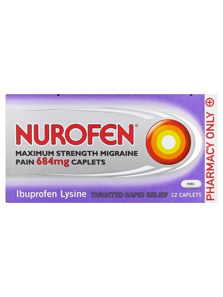 Nurofen Maximum Strength Migraine Pain 684mg Caplets 12 Caplets
