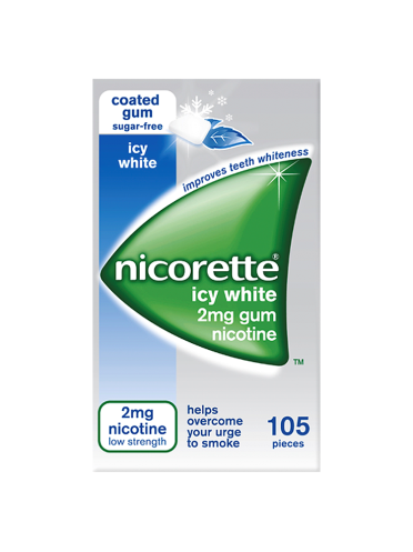 Nicorette Icy White 2mg Gum Nicotine 105 Pieces