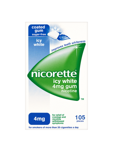 Nicorette Icy White Sugar-Free Gum 4mg Nicotine 105 Pieces