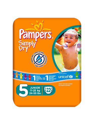 Pampers Simply Dry Size 5 Carry Pack 22 Nappies Per Pack