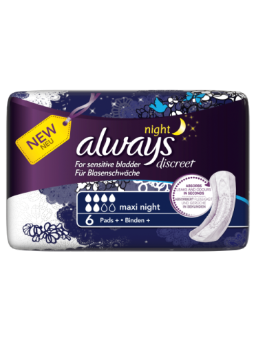 Always Discreet Incontinence Pads+ Maxi Night x 6