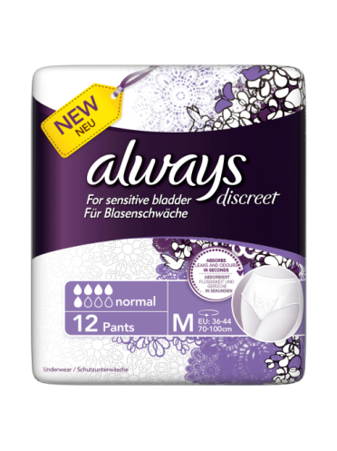 Always Discreet Incontinence Pants Normal Medium x 12