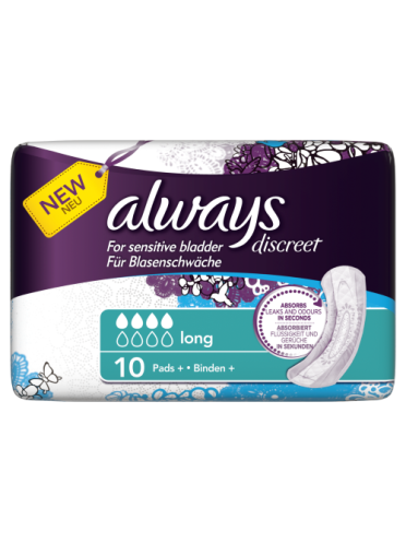Always Discreet Incontinence Pads+ Long x 10