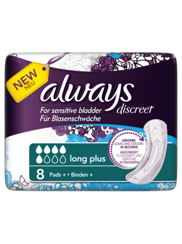 Always Discreet Incontinence Pads+ Long Plus x 8