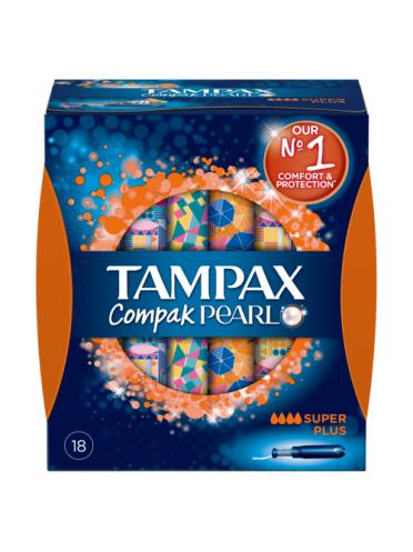 Tampax Compak Pearl Super Plus Applicator Tampons 18ct