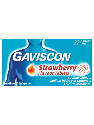 Gaviscon Strawberry Flavour Tablets 32 Chewable Tablets