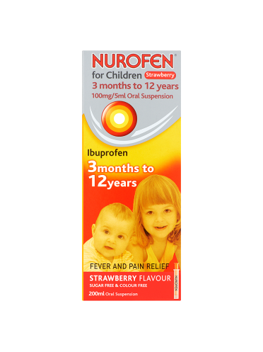 Nurofen for Children 100mg/5ml Oral Suspension Strawberry Flavour 3 Months to 12 Years 200ml