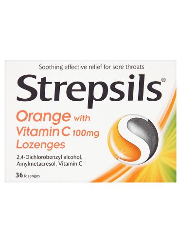 Strepsils Orange with Vitamin C 100mg Lozenges 36 Lozenges