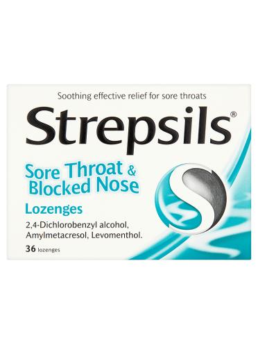 Strepsils Sore Throat & Blocked Nose Lozenges 36 Lozenges