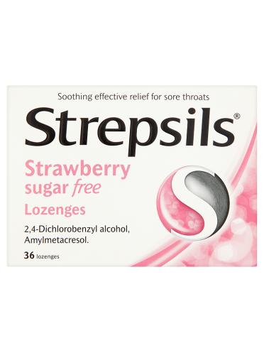 Strepsils Strawberry Sugar Free Lozenges 36 Lozenges
