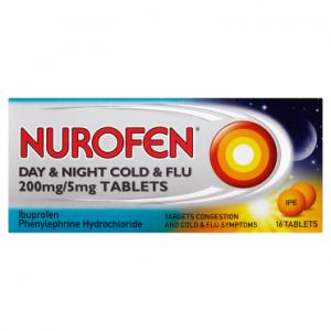 Nurofen Day & Night Cold & Flu 200mg/5mg 16 Tablets