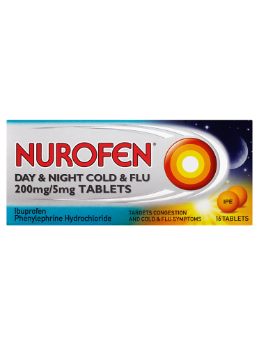 Nurofen Day & Night Cold & Flu 200mg/5mg 16 Tablets