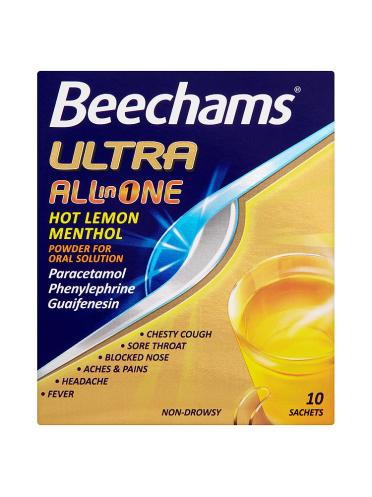 Beechams Ultra All in One Hot Lemon Menthol 10 Sachets