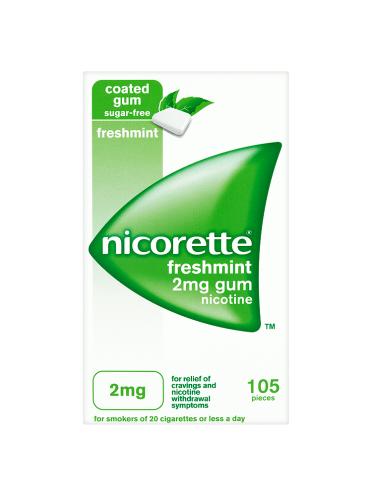 Nicorette Freshmint Sugar-Free Gum 2mg Nicotine 105 Pieces