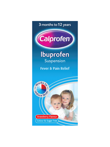 Calprofen Ibuprofen Suspension 3 Months to 12 Years Strawberry Flavour 200ml