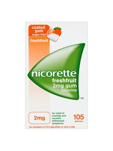 Nicorette Freshfruit Sugar Free Gum 2mg Nicotine 105 Pieces