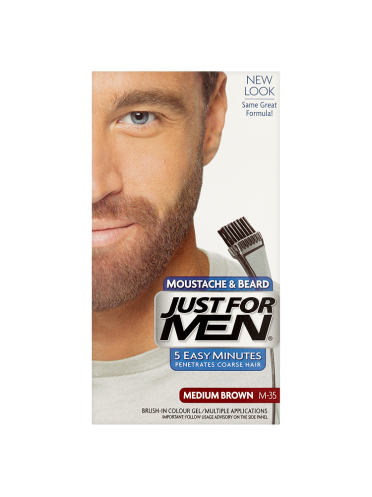 Just For Men Moustache & Beard Brush-In Colour Gel Medium Brown M-35