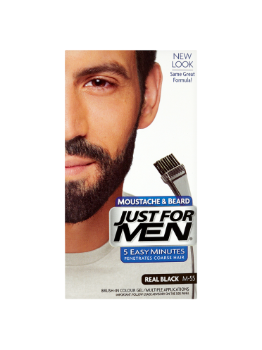 Just For Men Moustache & Beard Brush-In Colour Gel Real Black M-55