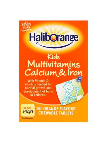Seven Seas Haliborange Kids Multivitamins Calcium & Iron 3-12yrs 30 Orange Flavour Chewable Tablets