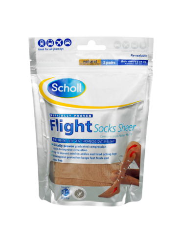 Scholl Flight Socks Natural 2 Pairs Shoe Sizes 4-6