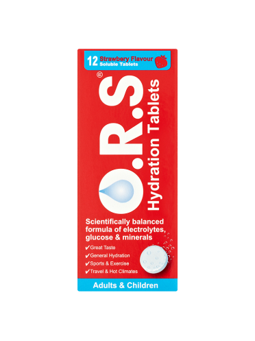 O.R.S Hydration Tablets Adults & Children 12 Strawberry Flavour Soluble Tablets