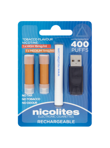 Nicolites Electronic Cigarettes Tobacco Flavour Rechargeable